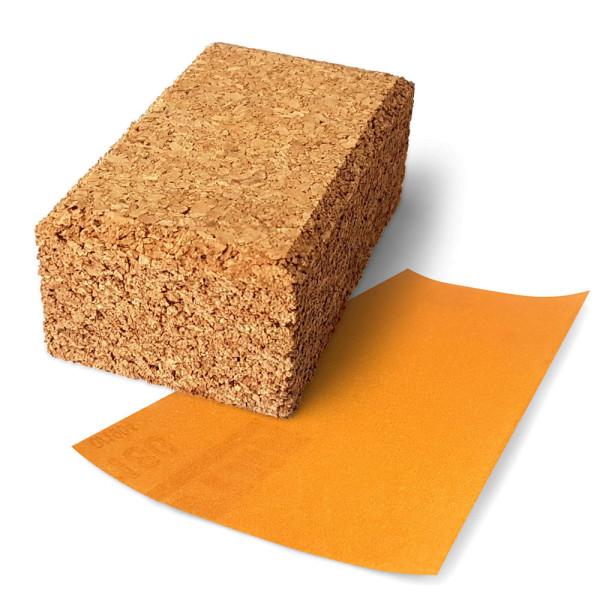Handschleifklotz aus Kork mit Schleifpapier