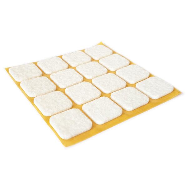 Filzgleiter quadratisch weiss 16 Stück