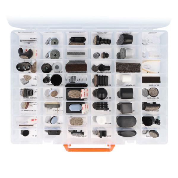 Sortimentskasten mit 48 Fächern - transparent